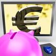 Euro Symbol On Monitor Showing European Wealth