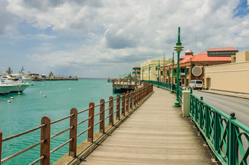 A Boardwalk along a Harour in Barbados