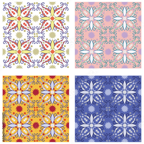 set of 4 colourful vector patterns