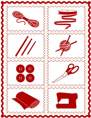 Sewing, Knit, Crochet, Quilt, Art & Craft Icons, rick rack frame