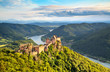 Landscape with castle ruin and Danube river in Wachau, Austria