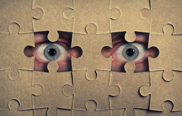 Eyes look out from the puzzle