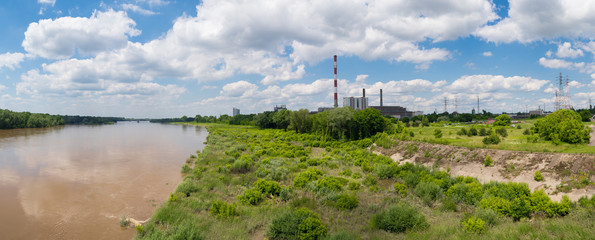 Panoramic photo of power station in Warsaw