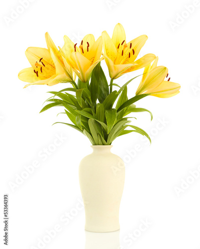 Beautiful orange lilies in vase, isolated on white