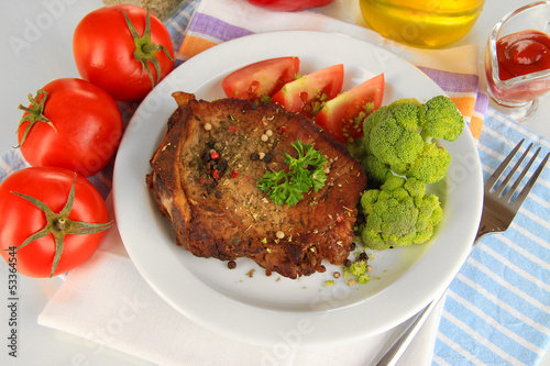 Piece of fried meat on plate isolated on white