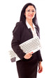 Professional Woman Holding Keyboard