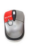 Hand cursor clicking on scam button poster