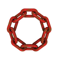 3D model of eroded and rusted red chains connected together
