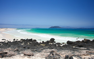 Northern Fuerteventura, Corralejo Flag beach, low tide