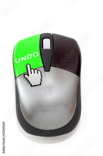 Hand cursor clicking on undo button