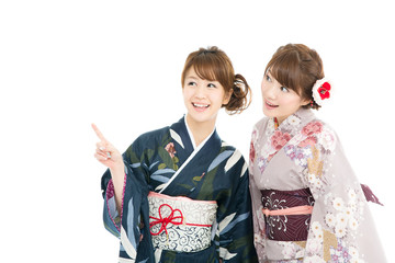 Beautiful japanese kimono women isolated on white background