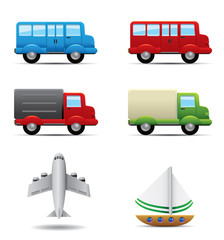 Realistic transportation icons set