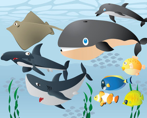 Lovely Cartoon Sea Life Background