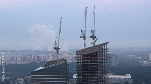 Moscow-city construction site from above