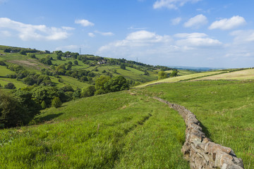 Picturesque rural farmland in West Yorkshire landscape taken at