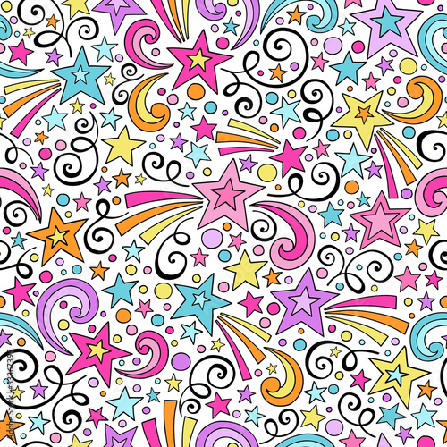 Stars Seamless Pattern- Groovy Doodles Vector Background