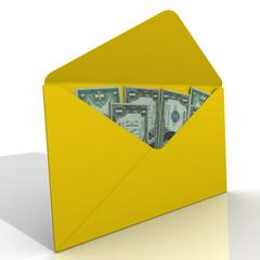 Желтый конверт с американскими долларами