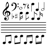 Fototapety Vector icons set music note