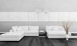 Modern white design couch with vase and two lamps