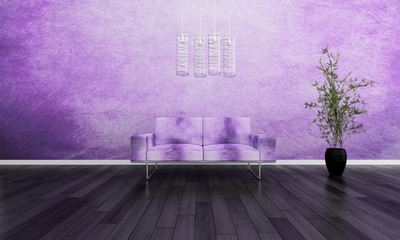 Modern violet couch in front of colorful wall