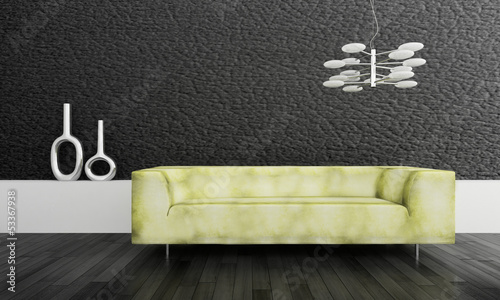 Modern green design couch in front of black wall