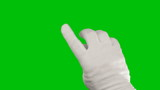 Hand doing touch screen gestures on green screen