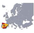 Europakarte mit Spanien