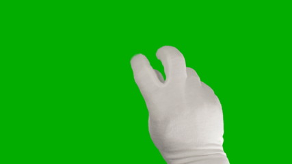 Hand in a white glove using a touchscreen tablet
