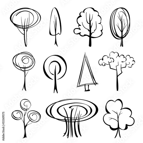 abstract trees  sketch set