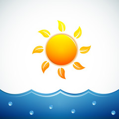 Vector illustration of sun and sea