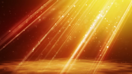 loopable background flying gold particles in light beams