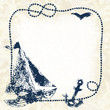 Navy blue boat, anchor, seagull with a frame, grunge vector
