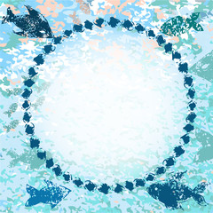 Blue fishes navy grunge background with a frame for your text