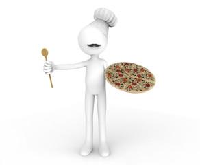Cocinero con pizza en la mano
