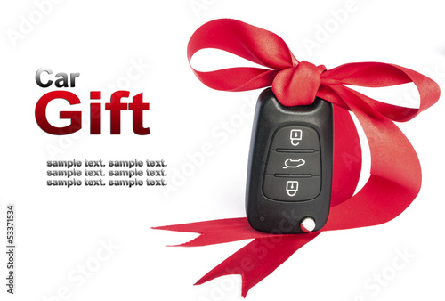 Gift key concept with red Bow and space for text