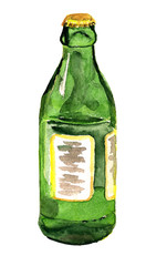 Green bottle watercolor