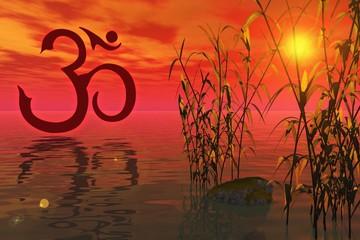 Mantra Om und Sonnenuntergang