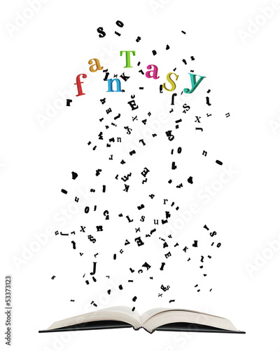 Opened book with letters bursting out of it, on white background