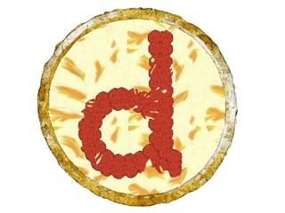 3D Pepperoni Pizza Golden Crust Top View Alphabet D Small