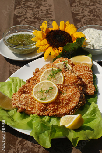 Delicious catfish escalope