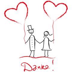 Wir sagen Danke! Hochzeitspaar mit Herzluftballons