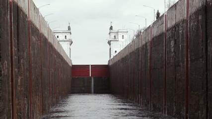 Lock on the river Volga in Russia.