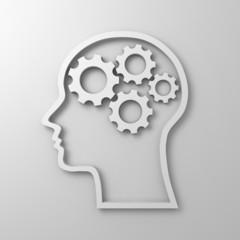 Brain gears in human head shape on white background