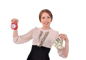 женщина с будильником и деньгами в руках