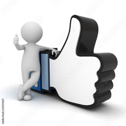 3d man showing thumb up with like hand symbol over white