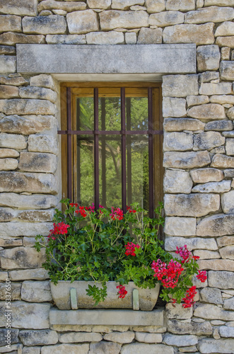 Pretty window with red flowers