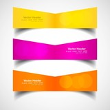 Three colorful headers presentation vector design