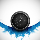 Single clock blue grunge wave colorful presentation background V