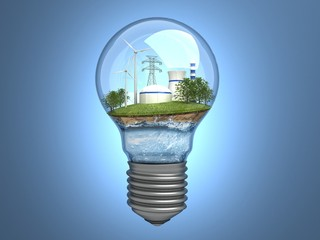 Wind turbines and atomic station in the bulb