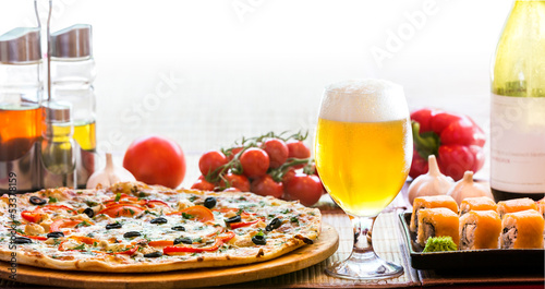 composition of beer sushi  and pizza